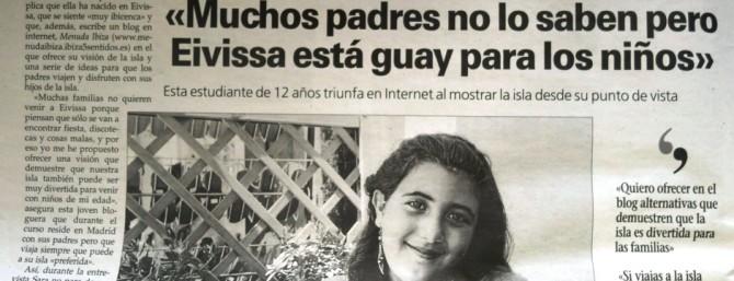 Sara Parts en el Periódico de IIbiza