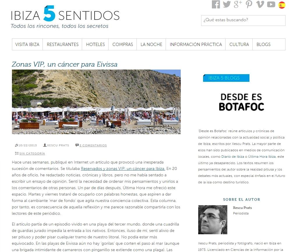 zonas vip un cáncer pra Ibiza